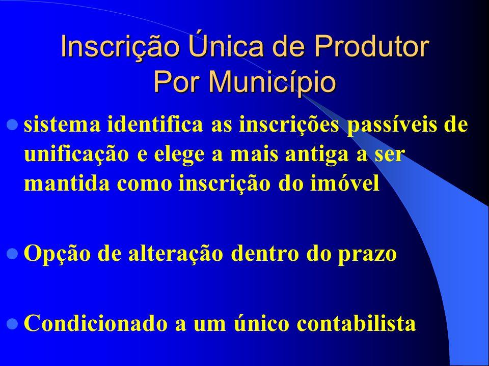 Inscrição Única de Produtor Por Município sistema identifica as inscrições passíveis de unificação e elege a mais antiga a ser mantida como inscrição