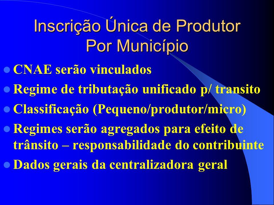 Inscrição Única de Produtor Por Município CNAE serão vinculados Regime de tributação unificado p/ transito Classificação (Pequeno/produtor/micro) Regimes serão agregados para efeito de trânsito – responsabilidade do contribuinte Dados gerais da centralizadora geral
