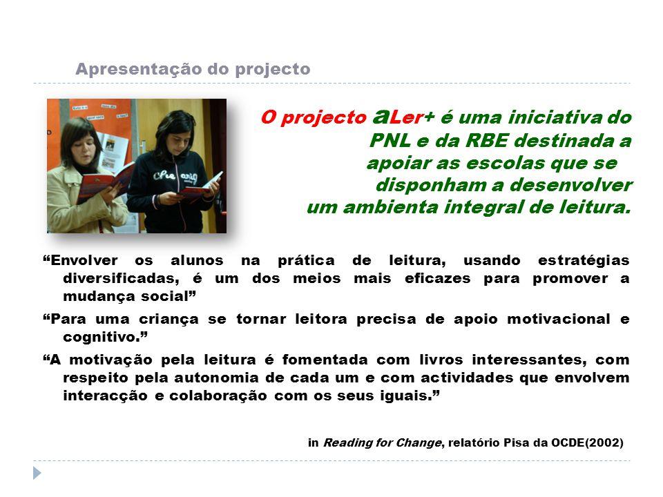Apresentação do projecto O projecto a Ler+ é uma iniciativa do PNL e da RBE destinada a apoiar as escolas que se disponham a desenvolver um ambienta i