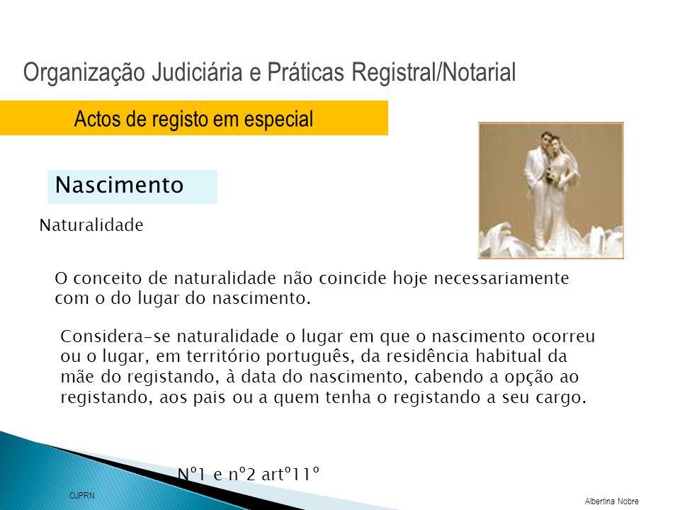 Organização Judiciária e Práticas Registral/Notarial Albertina Nobre OJPRN Actos de registo em especial Naturalidade Nascimento O conceito de naturali