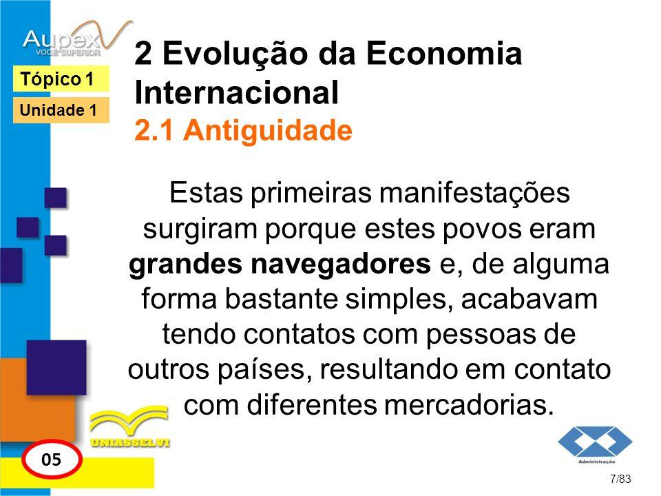 2 Evolução da Economia Internacional 2.1 Antiguidade Estas primeiras manifestações surgiram porque estes povos eram grandes navegadores e, de alguma f