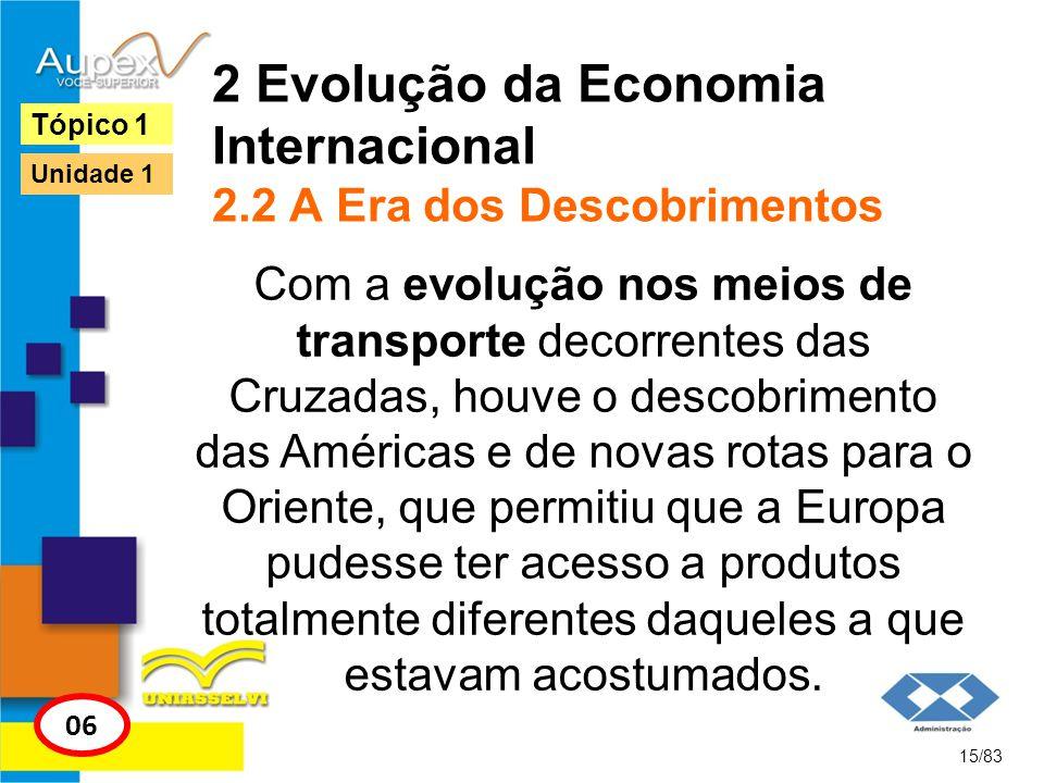 2 Evolução da Economia Internacional 2.2 A Era dos Descobrimentos Com a evolução nos meios de transporte decorrentes das Cruzadas, houve o descobrimen