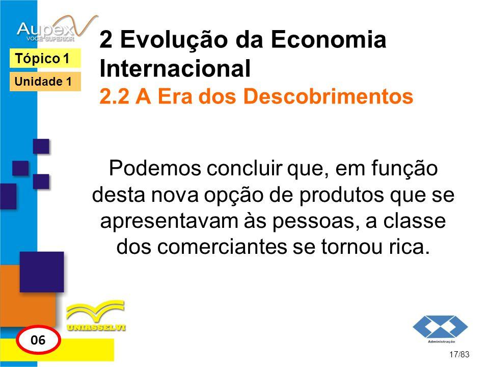 2 Evolução da Economia Internacional 2.2 A Era dos Descobrimentos Podemos concluir que, em função desta nova opção de produtos que se apresentavam às
