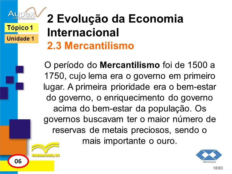 2 Evolução da Economia Internacional 2.3 Mercantilismo O período do Mercantilismo foi de 1500 a 1750, cujo lema era o governo em primeiro lugar. A pri