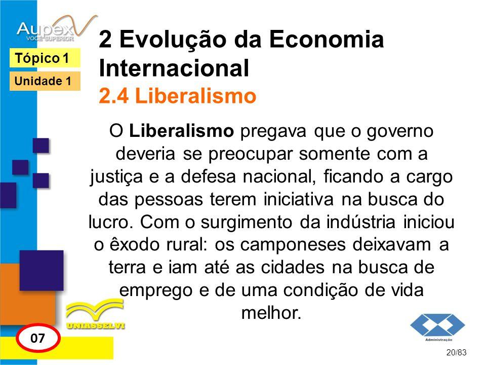 2 Evolução da Economia Internacional 2.4 Liberalismo O Liberalismo pregava que o governo deveria se preocupar somente com a justiça e a defesa naciona