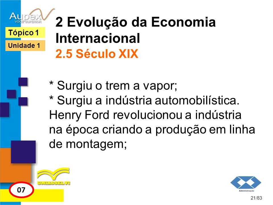 2 Evolução da Economia Internacional 2.5 Século XIX * Surgiu o trem a vapor; * Surgiu a indústria automobilística. Henry Ford revolucionou a indústria