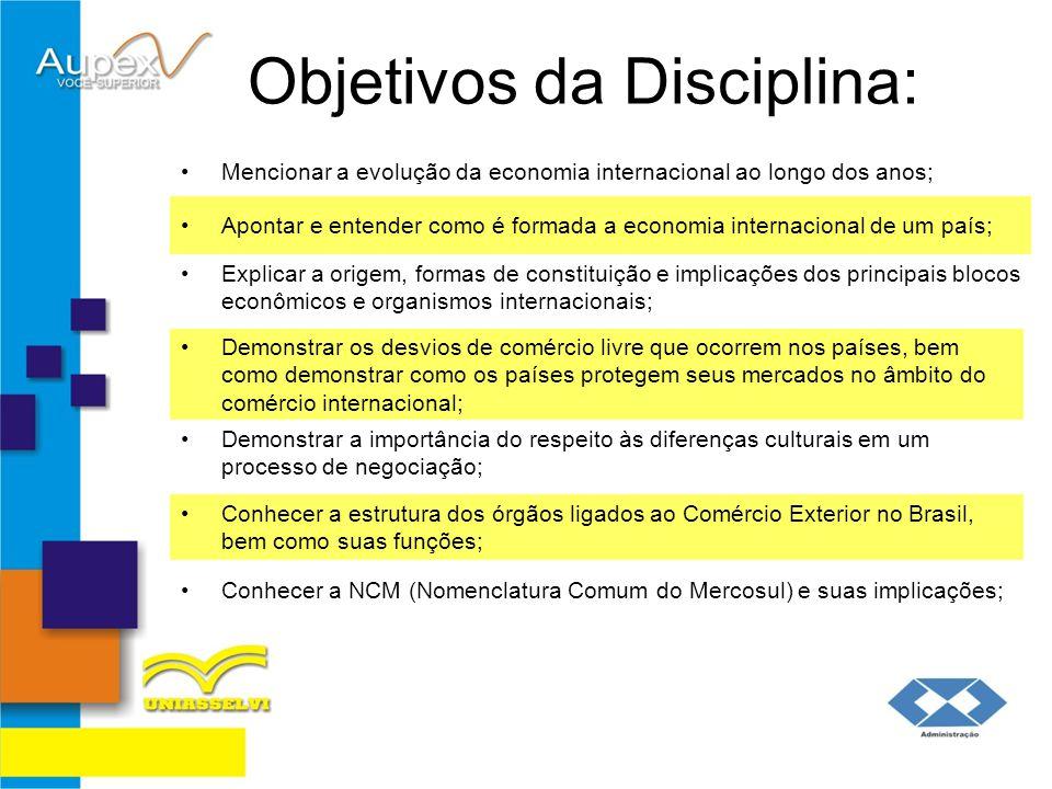Objetivos da Disciplina: Mencionar a evolução da economia internacional ao longo dos anos; Demonstrar os desvios de comércio livre que ocorrem nos paí