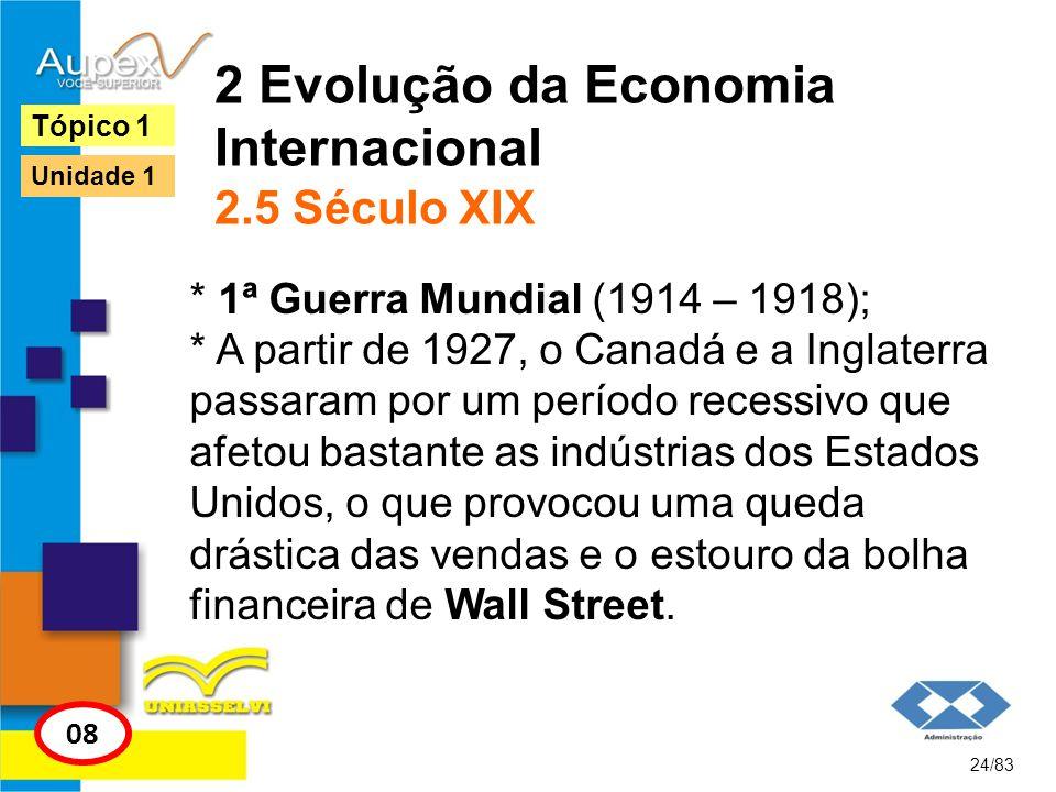 2 Evolução da Economia Internacional 2.5 Século XIX * 1ª Guerra Mundial (1914 – 1918); * A partir de 1927, o Canadá e a Inglaterra passaram por um per