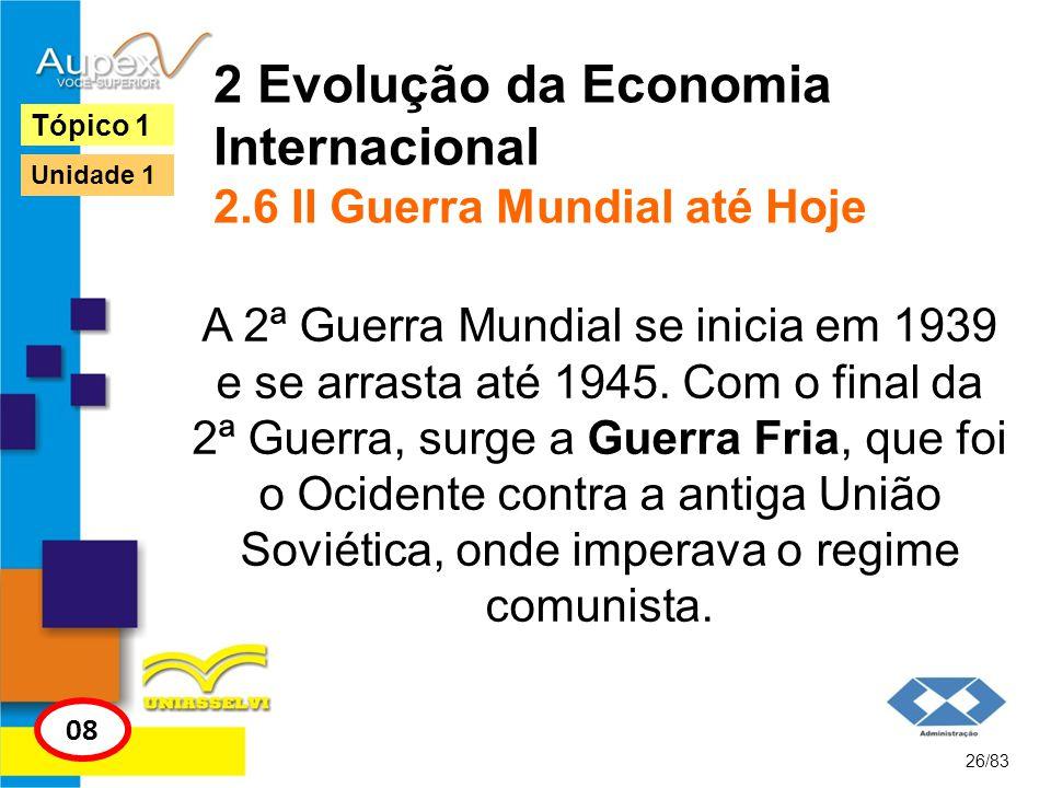 2 Evolução da Economia Internacional 2.6 II Guerra Mundial até Hoje A 2ª Guerra Mundial se inicia em 1939 e se arrasta até 1945. Com o final da 2ª Gue