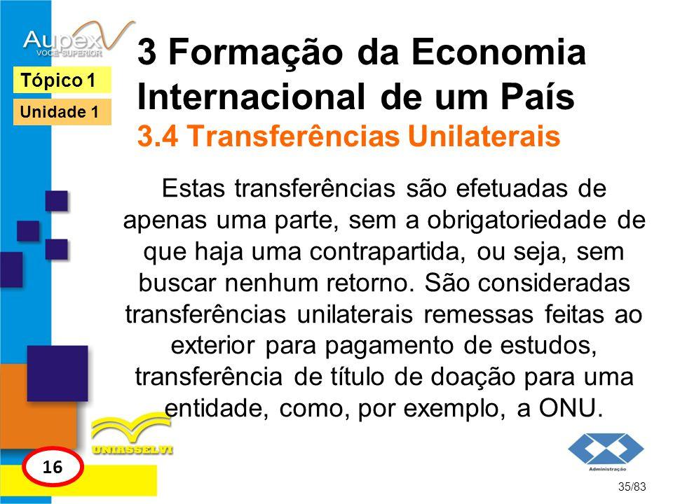 3 Formação da Economia Internacional de um País 3.4 Transferências Unilaterais Estas transferências são efetuadas de apenas uma parte, sem a obrigator