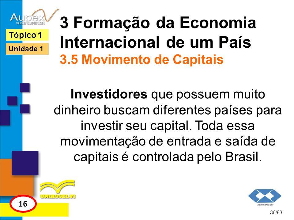 3 Formação da Economia Internacional de um País 3.5 Movimento de Capitais Investidores que possuem muito dinheiro buscam diferentes países para invest