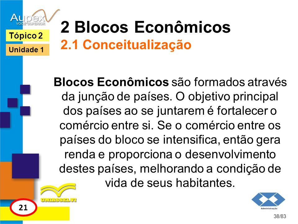 2 Blocos Econômicos 2.1 Conceitualização Blocos Econômicos são formados através da junção de países. O objetivo principal dos países ao se juntarem é