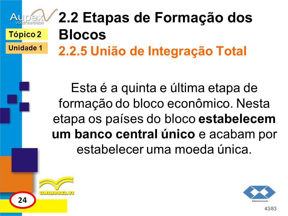 2.2 Etapas de Formação dos Blocos 2.2.5 União de Integração Total Esta é a quinta e última etapa de formação do bloco econômico. Nesta etapa os países