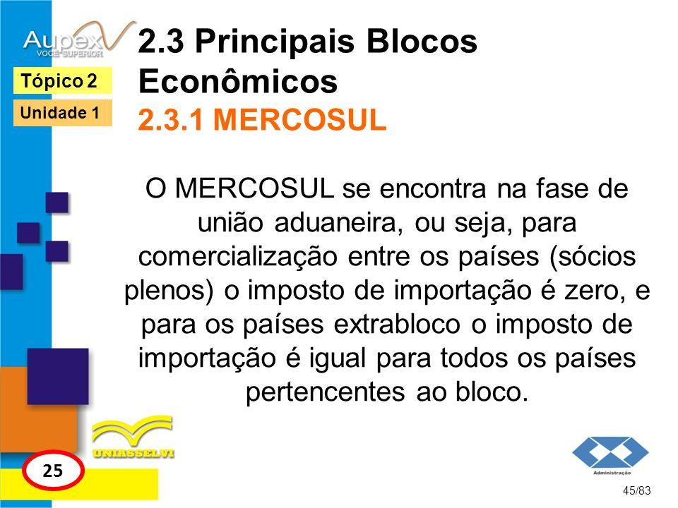 2.3 Principais Blocos Econômicos 2.3.1 MERCOSUL O MERCOSUL se encontra na fase de união aduaneira, ou seja, para comercialização entre os países (sóci