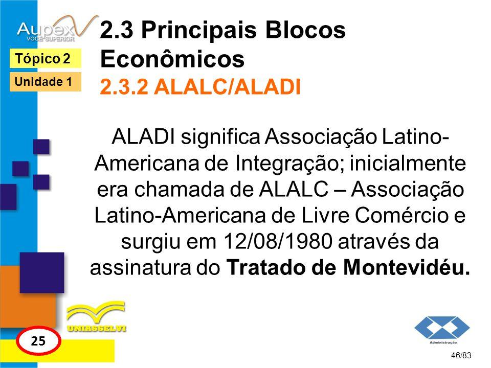2.3 Principais Blocos Econômicos 2.3.2 ALALC/ALADI ALADI significa Associação Latino- Americana de Integração; inicialmente era chamada de ALALC – Ass