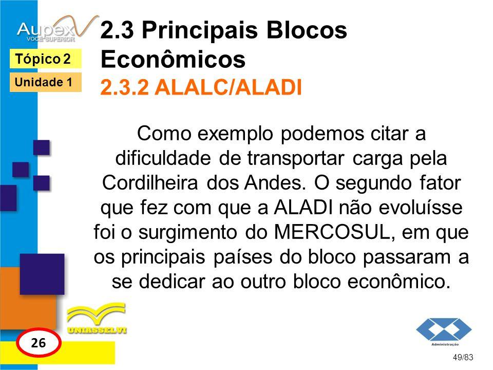 2.3 Principais Blocos Econômicos 2.3.2 ALALC/ALADI Como exemplo podemos citar a dificuldade de transportar carga pela Cordilheira dos Andes. O segundo
