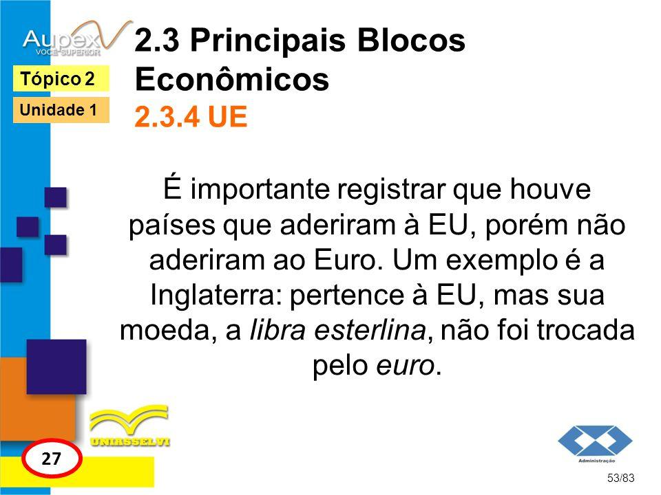 2.3 Principais Blocos Econômicos 2.3.4 UE É importante registrar que houve países que aderiram à EU, porém não aderiram ao Euro. Um exemplo é a Inglat