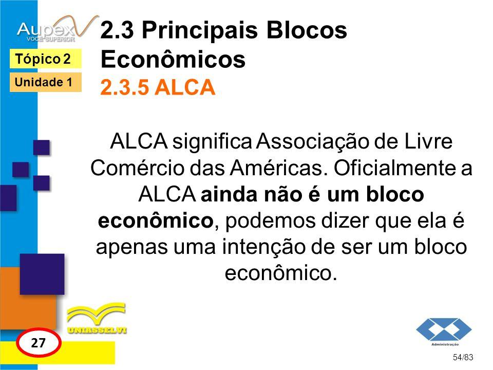 2.3 Principais Blocos Econômicos 2.3.5 ALCA ALCA significa Associação de Livre Comércio das Américas. Oficialmente a ALCA ainda não é um bloco econômi