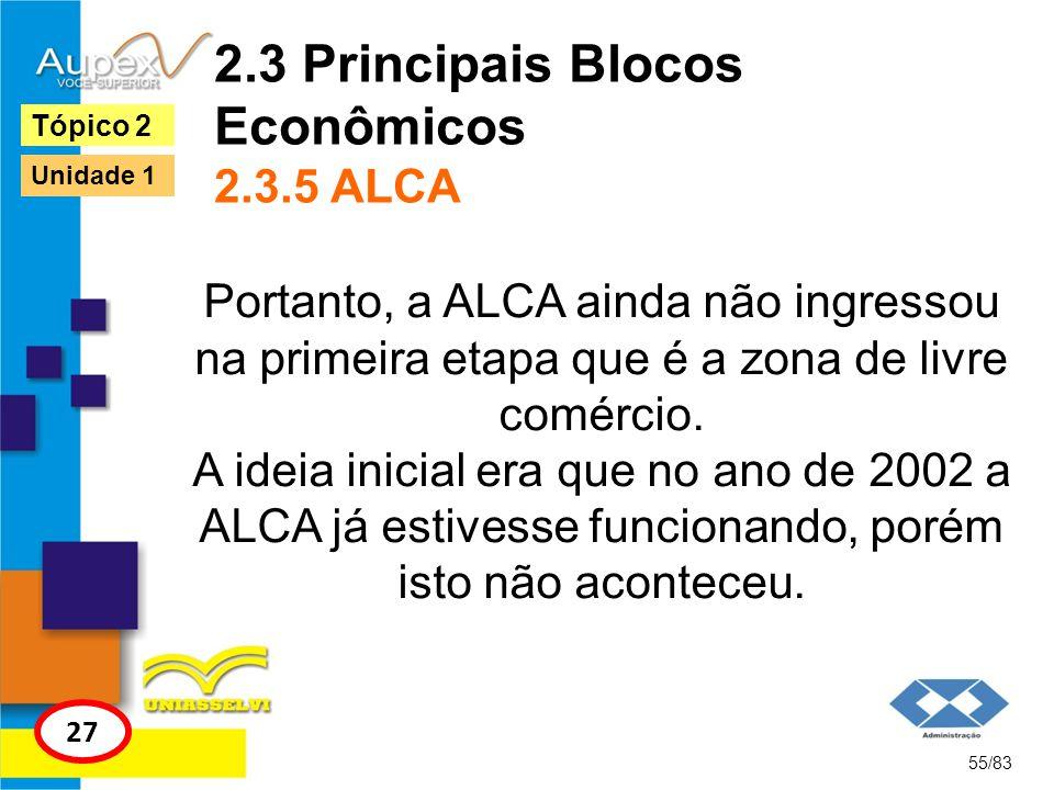 2.3 Principais Blocos Econômicos 2.3.5 ALCA Portanto, a ALCA ainda não ingressou na primeira etapa que é a zona de livre comércio. A ideia inicial era