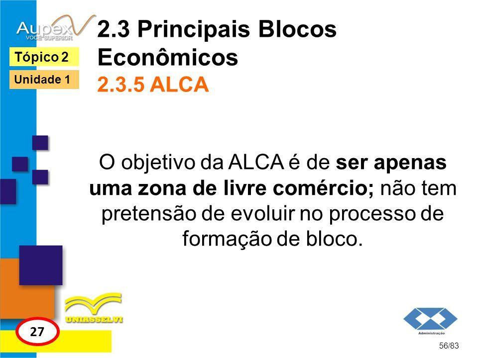 2.3 Principais Blocos Econômicos 2.3.5 ALCA O objetivo da ALCA é de ser apenas uma zona de livre comércio; não tem pretensão de evoluir no processo de