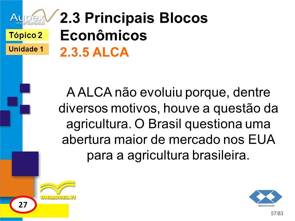 2.3 Principais Blocos Econômicos 2.3.5 ALCA A ALCA não evoluiu porque, dentre diversos motivos, houve a questão da agricultura. O Brasil questiona uma