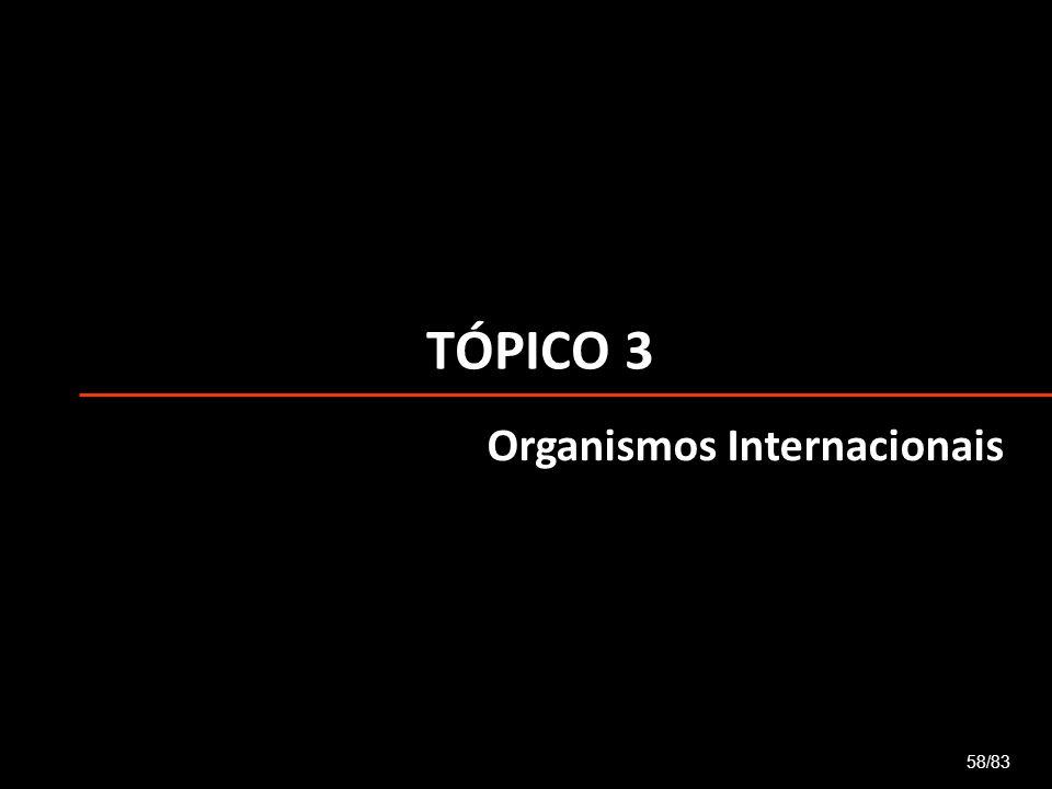 TÓPICO 3 58/83 Organismos Internacionais