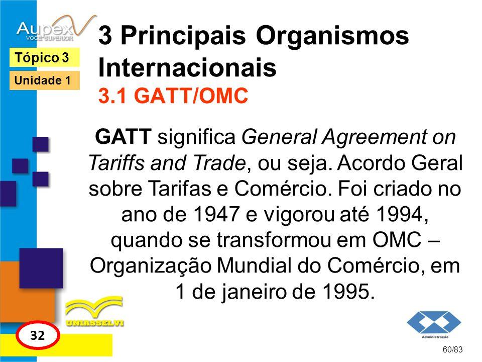 3 Principais Organismos Internacionais 3.1 GATT/OMC GATT significa General Agreement on Tariffs and Trade, ou seja. Acordo Geral sobre Tarifas e Comér