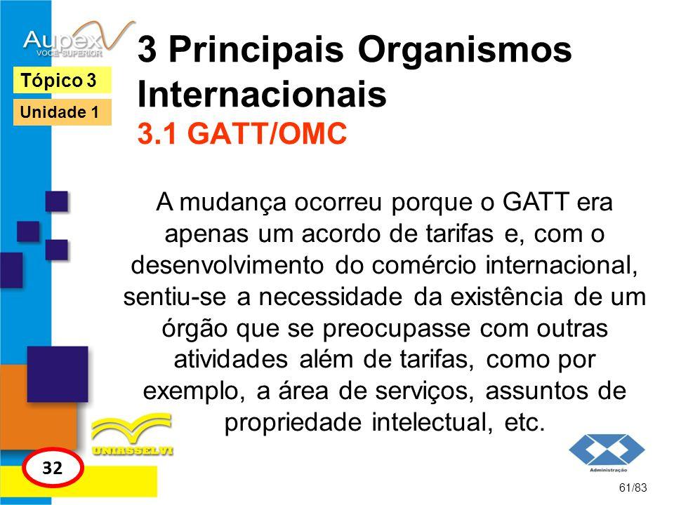 3 Principais Organismos Internacionais 3.1 GATT/OMC A mudança ocorreu porque o GATT era apenas um acordo de tarifas e, com o desenvolvimento do comérc
