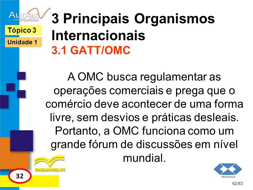 3 Principais Organismos Internacionais 3.1 GATT/OMC A OMC busca regulamentar as operações comerciais e prega que o comércio deve acontecer de uma form
