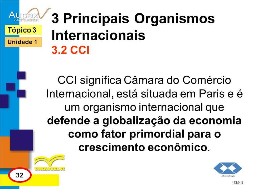 3 Principais Organismos Internacionais 3.2 CCI CCI significa Câmara do Comércio Internacional, está situada em Paris e é um organismo internacional qu