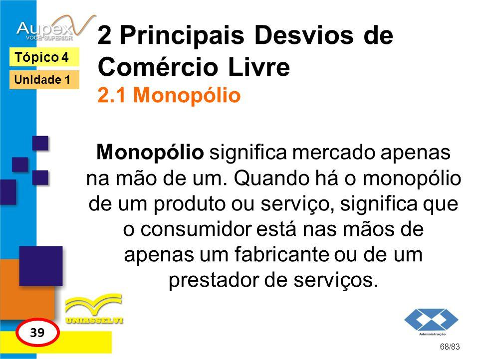 2 Principais Desvios de Comércio Livre 2.1 Monopólio Monopólio significa mercado apenas na mão de um. Quando há o monopólio de um produto ou serviço,