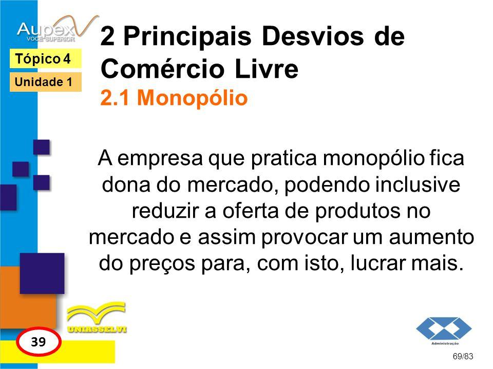 2 Principais Desvios de Comércio Livre 2.1 Monopólio A empresa que pratica monopólio fica dona do mercado, podendo inclusive reduzir a oferta de produ