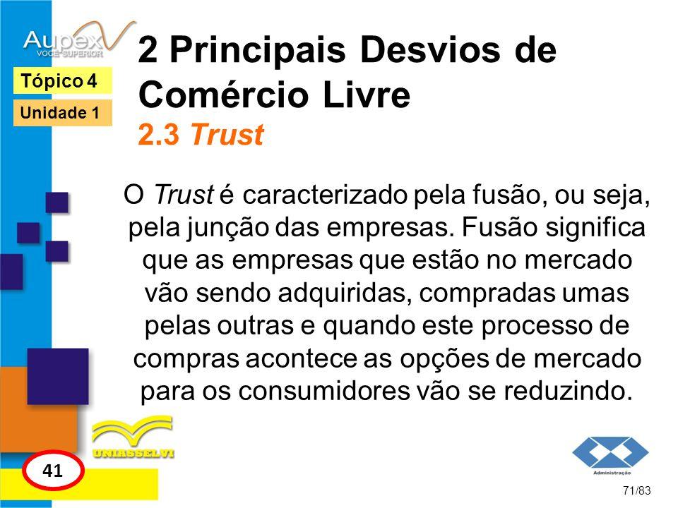 2 Principais Desvios de Comércio Livre 2.3 Trust O Trust é caracterizado pela fusão, ou seja, pela junção das empresas. Fusão significa que as empresa