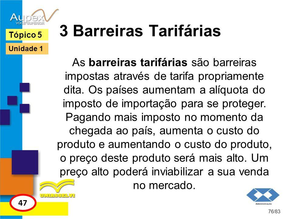 3 Barreiras Tarifárias As barreiras tarifárias são barreiras impostas através de tarifa propriamente dita. Os países aumentam a alíquota do imposto de