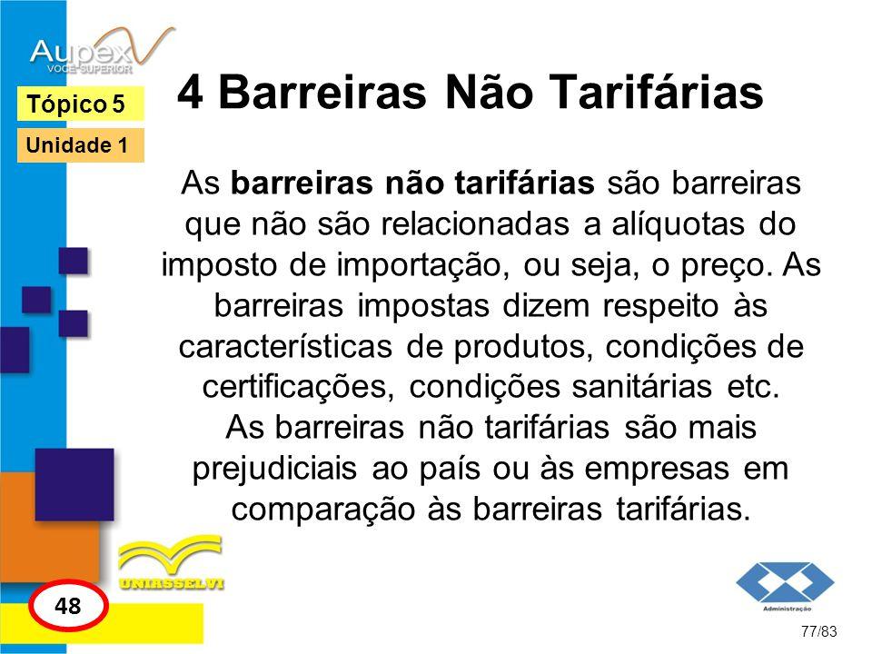 4 Barreiras Não Tarifárias As barreiras não tarifárias são barreiras que não são relacionadas a alíquotas do imposto de importação, ou seja, o preço.