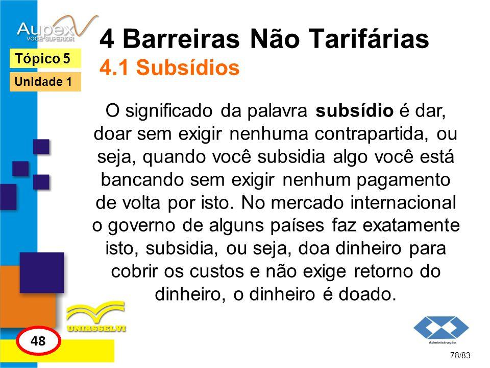 4 Barreiras Não Tarifárias 4.1 Subsídios O significado da palavra subsídio é dar, doar sem exigir nenhuma contrapartida, ou seja, quando você subsidia
