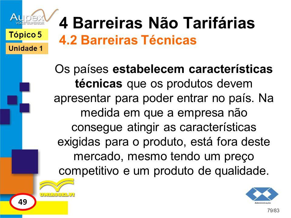 4 Barreiras Não Tarifárias 4.2 Barreiras Técnicas Os países estabelecem características técnicas que os produtos devem apresentar para poder entrar no