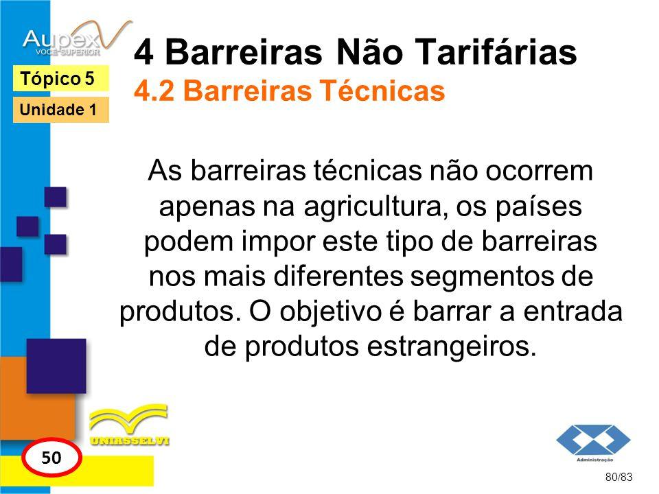 4 Barreiras Não Tarifárias 4.2 Barreiras Técnicas As barreiras técnicas não ocorrem apenas na agricultura, os países podem impor este tipo de barreira