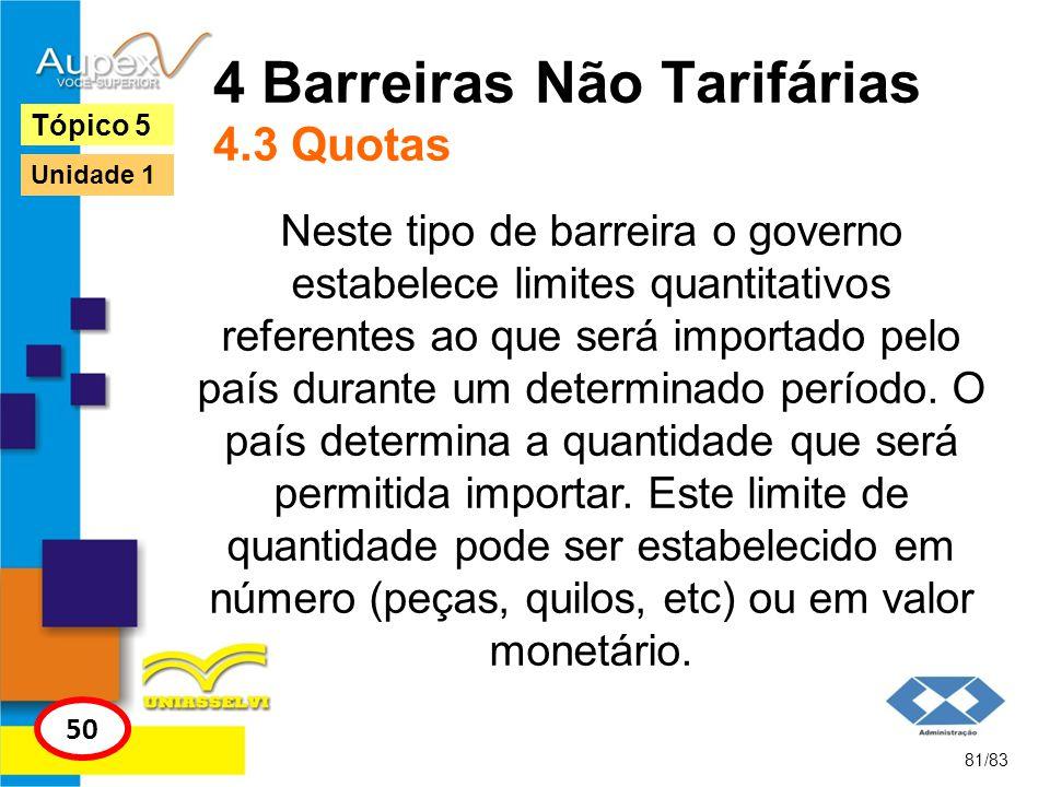 4 Barreiras Não Tarifárias 4.3 Quotas Neste tipo de barreira o governo estabelece limites quantitativos referentes ao que será importado pelo país dur