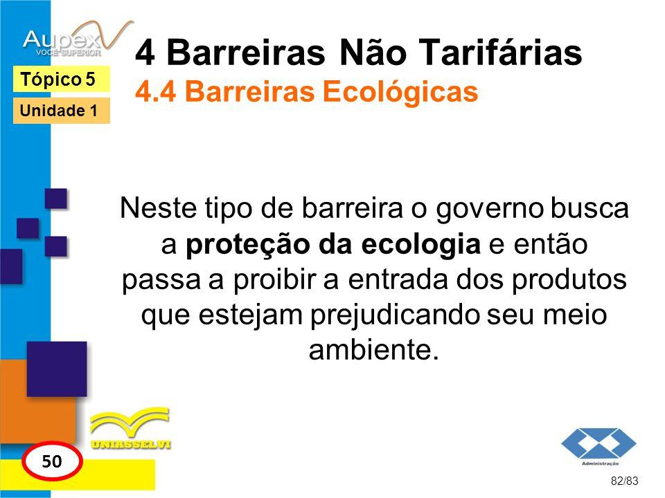 4 Barreiras Não Tarifárias 4.4 Barreiras Ecológicas Neste tipo de barreira o governo busca a proteção da ecologia e então passa a proibir a entrada do
