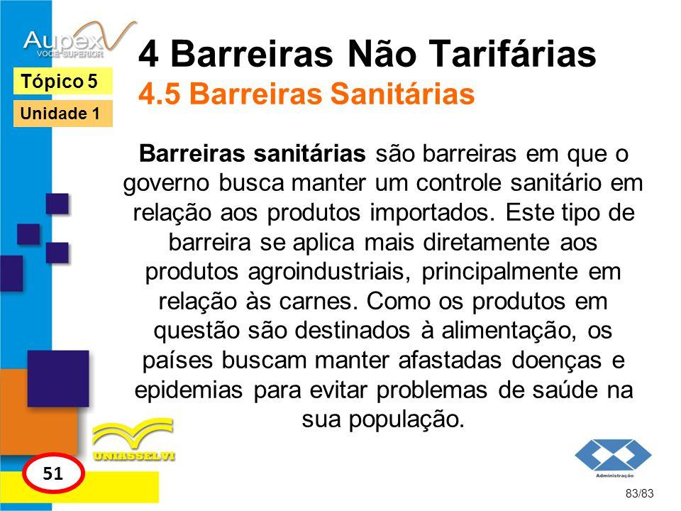4 Barreiras Não Tarifárias 4.5 Barreiras Sanitárias Barreiras sanitárias são barreiras em que o governo busca manter um controle sanitário em relação