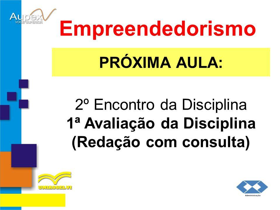 PRÓXIMA AULA: Empreendedorismo 2º Encontro da Disciplina 1ª Avaliação da Disciplina (Redação com consulta)