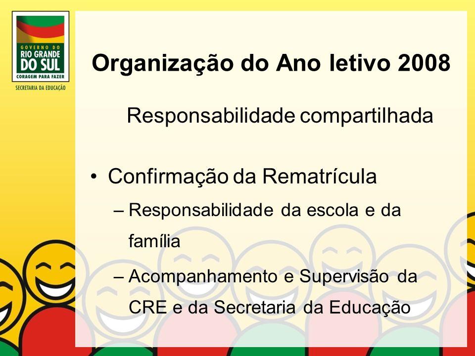 Organização do Ano letivo 2008 Responsabilidade compartilhada Confirmação da Rematrícula –Responsabilidade da escola e da família –Acompanhamento e Su