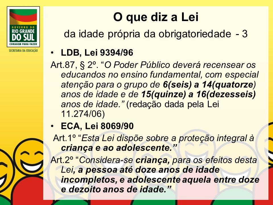 O que diz a Lei da idade própria da obrigatoriedade - 3 LDB, Lei 9394/96 Art.87, § 2º. O Poder Público deverá recensear os educandos no ensino fundame
