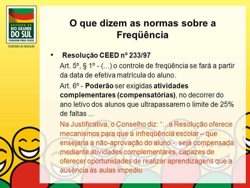 O que dizem as normas sobre a Freqüência Resolução CEED nº 233/97 Art. 5º, § 1º - (...) o controle de freqüência se fará a partir da data de efetiva m