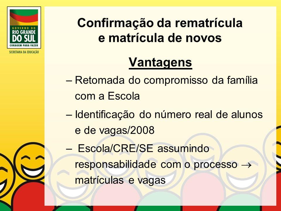 Confirmação da rematrícula e matrícula de novos Vantagens –Retomada do compromisso da família com a Escola –Identificação do número real de alunos e d