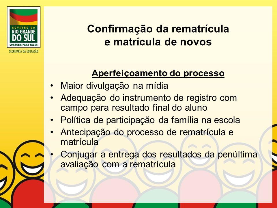 Confirmação da rematrícula e matrícula de novos Aperfeiçoamento do processo Maior divulgação na mídia Adequação do instrumento de registro com campo p