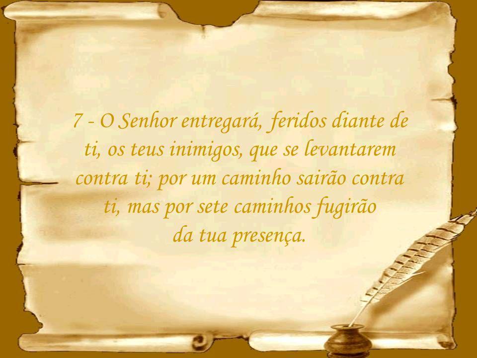 7 - O Senhor entregará, feridos diante de ti, os teus inimigos, que se levantarem contra ti; por um caminho sairão contra ti, mas por sete caminhos fugirão da tua presença.