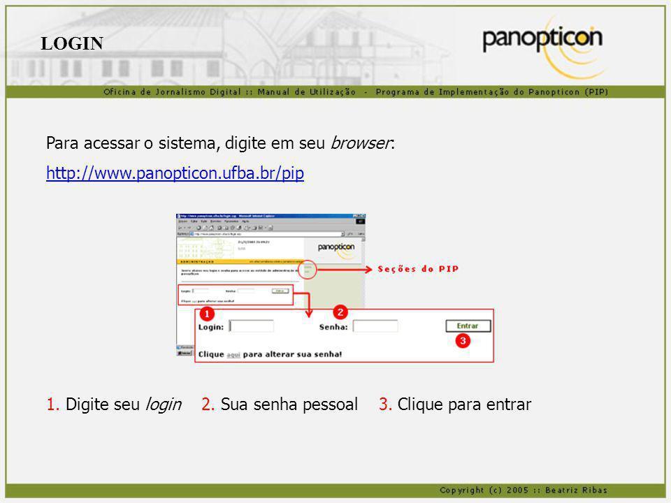 Para acessar o sistema, digite em seu browser: http://www.panopticon.ufba.br/pip 1. Digite seu login 2. Sua senha pessoal 3. Clique para entrar LOGIN