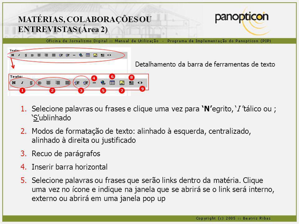 MATÉRIAS, COLABORAÇÕES OU ENTREVISTAS (Área 2) 6.